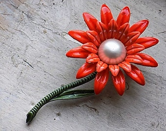 FREE SHIPPING Vintage Flower Brooch Pin Spring Orange Metal Flower with Faux Pearl Center Accent