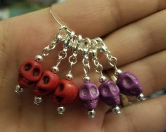 Stitch markers, crochet and or knitting stitch markers, Yarn stitch markers, tools and supplies, made to order skull stitch markers set of 6