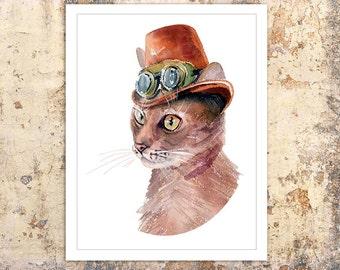 Cat steampunk watercolor, Poster, Wall art, Art print, Gift, Home Decor, Digital Print, INSTANT DOWNLOAD.