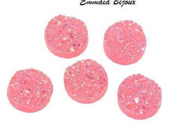 12 glitter neon pink resin 18 mm cabochons