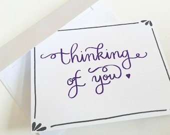 """Pretty hand-lettered """"thinking of you"""" card"""