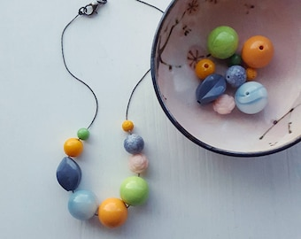 flower power - sixties summer colors - necklace - vintage remixed lucite - orange pink apple green