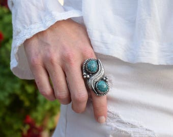 Large turquoise ring turquoise statement ring turquoise silver leaf ring sterling silver ring size 7