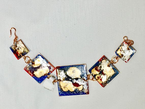SJC10262 - Statement contemporary handmade enamel painted blue/red/gold bracelet with copper jump rings  and clasp.