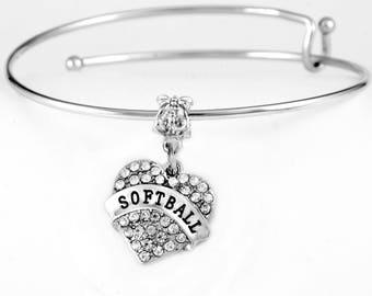 Softball Bracelet Crystal Heart Softball Bracelet Softball Player gift Softball Charm Softball jewelry
