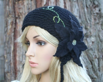 Secret Garden Felted Flower Hat- Black, Night, Ebony- All Wool Pin Up Hat