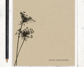 personalized notePAD - KRAFT QUEEN ANNES lace - stationery - stationary - flower - floral - botanical