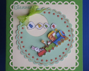 Embroidered card and 3D for birth