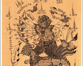 Thai traditional art of Hanuman by printing on sepia paper