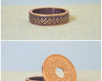 Thailand Coin Ring, Purple Coin Ring, Purple Ring, Crown Ring, Unique Ring, Purple BoHo Ring, Coin Jewelry, Bohemian Ring, Thailand Art