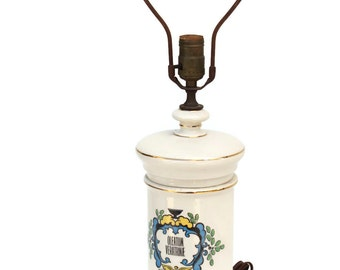 Apothecary Jar Table Lamp With Distressed Wooden Base   Oleatum Veratrina