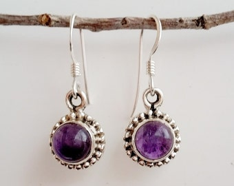 Amethyst Earrings - February Birthstone Earrings - Sterling Silver Amethyst Earrings - Purple Gemstone Earrings - Amethyst Jewelry