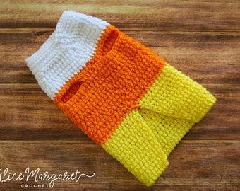Candy Corn Dog Sweater | Small Breed | Crochet | Dog Costume | Halloween Theme | Dachshund | Chihuahua | Seasonal Item