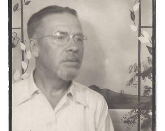 "Vintage Snapshot ""Ron"" Goatee Rimless Eyeglasses Thoughtful Pose Photobooth Snapshot Found Vernacular Photo"