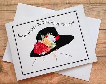 SHADY LADY Birthday Card, Watercolour Design, A6 size