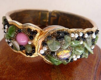 vintage Jeweled Pilgrim hinged hidden watch bangle   clamper bypass watch   analog mystery watch   Swiss 21 jewels wind up   runs