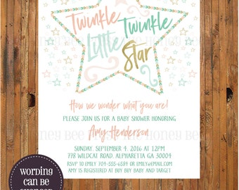 Twinkle Twinkle Little Star Baby Shower Invitation - Reveal - Gender Neutral Baby Shower invite - Twinkle Twinkle Little Star - Item 0311