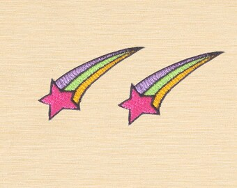 Set of 2 pcs Mini Sweet Pink Shooting Star Iron On Patches Sew On Appliques