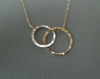 Mother's Day Gift, Mother's Necklace, Two Circles, Gold and Silver, Connected Circles, Gift for Her, Delicate Necklace, Dainty Necklace