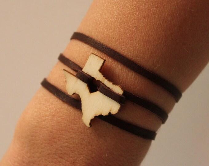 Texas Leather Wrap Bracelet