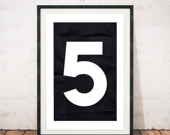 Numbers print, Black and white print, Numbers poster, Modern poster print, Wall decor art, Typographic poster, Nursery art print, Home decor