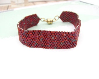 Woven Beaded Bracelet Delica Bead Dark Red Iris Blue Maroon Seed Beads, Magnetic Clasp, Wrap Beaded Boho Hippie Jewelry, Stack Layer