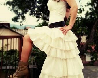 Steampunk Wedding Dress Bridal Dress Ruffles Mini Front Boned Corset Organza Victorian Bridal Gown