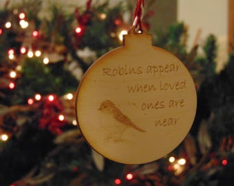 Robin loved ones laser cut engraved christmas tree bauble decoration