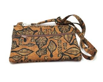 IPad  Mini Case, Kindle Case, Cross Body Bag, Adjustable Strap, Fits eReaders, Brown Leaves
