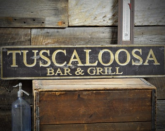 Custom City Bar & Grill Sign - Distressed Rustic Hand Made Vintage Wooden ENS1000534