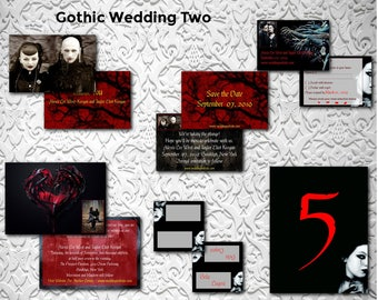Gothic Wedding/Birds/Wedding Invitation Suite/Wedding Invitation Set/Wedding Set/Personalized Wedding Invitation Set/Unusual/Modern Wedding