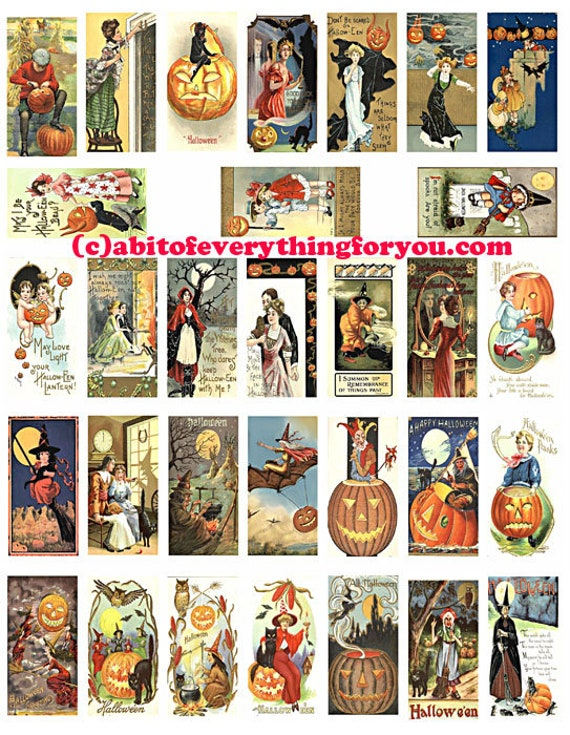"Vintage Halloween postcards art domino collage sheet 1"" X 2"" inch domino graphics vintage images digital download printables for pendants"