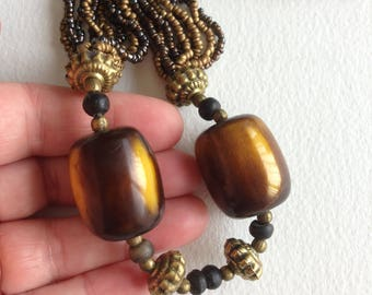 Necklace -  yellow and brown beads chunky bead necklace