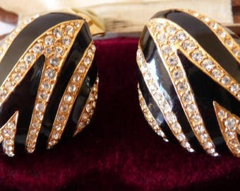 vintage Ciner zebra striped clip earrings | black enamel | crystal clear Swarovski rhinestones | signed twice | 1980s African high fashion