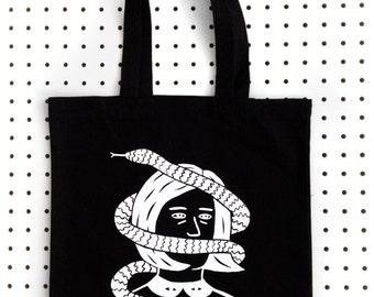 SNAKE FACE  Screen Printed Black Canvas Tote Bag