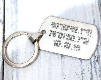 Coordinates Latitude Longitude Personalized Key Chain - Engraved