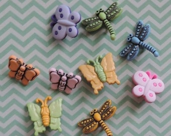 """SALE Bug Buttons, Packaged Novelty Buttons,  """"Flutterbugs"""" Style 4254 by Buttons Galore Includes Dragonflies and Butterflies, Sewing, Crafti"""