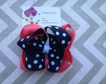 Coral, Navy and White Polka Dot Boutique Hair Bow
