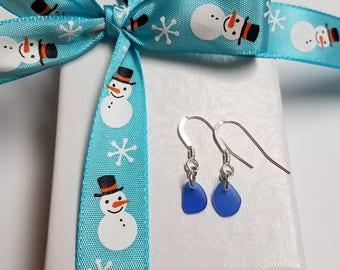 Cobalt Blue Puerto Rico Seaglass Dangle Earrings *FREE SHIPPING!*