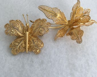 Orchid Butterfly Portugal 925 Sterling Silver Gold Wash Brooches Lovey Floral Flower And Butterfly Pin Brooches Hallmark