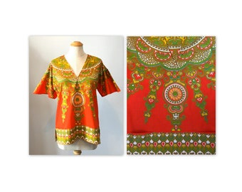 Vintage 60s Orange Dashiki Top V Neck with Pockets