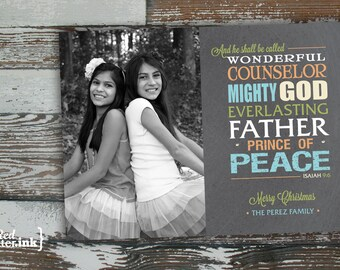 Merry Christmas Typography Digital Holiday Card  - Customizable with scripture & photo (Isaiah 9:6)