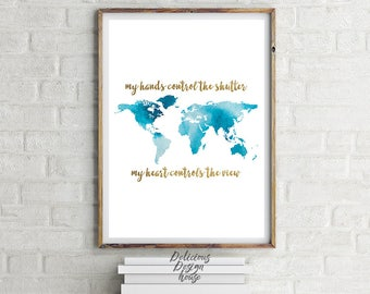 Watercolor world map photographer PRINTABLE cute office decor / Watercolor printable photographer print / Large Poster Art photography gift