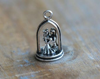 1 - 3D Bride & Groom Wedding Charm - Silver Toned Brass Layered Charm Minimal Jewelry Pendant (B6) 50DFL2
