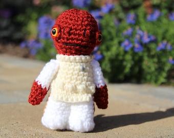Star Wars Admiral Ackbar Amigurumi, hand crocheted