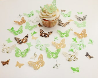 48 Edible Chocolate Lime Butterfly Wafer Cupcake Toppers Precut
