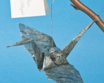 Poetry Takes Flight Origami Crane with Poem