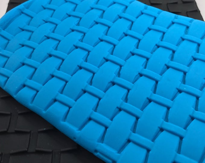 "BASKET WEAVE Impression Mold Mat, 9.5""x7"", Silicone, Soap, Fimo, Soap Dough, Bubble bar, etc, Two Wild Hares"