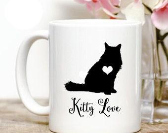 Fluffy Cat Kitty Love Coffee Mug