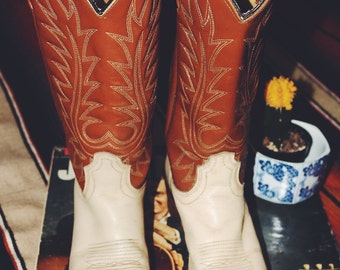 Vintage ACME Two-tone Western Leather Boots